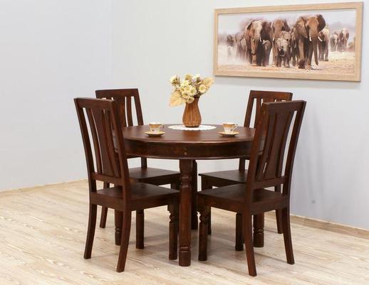 Indyjski komplet obiadowy  stół okrągły +4  krzesła