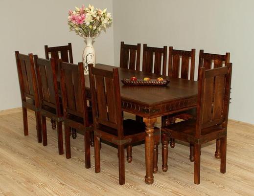 Indyjski komplet obiadowy  stół + 10 krzeseł