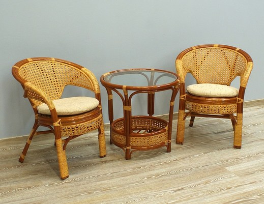 Komplet kawowy z rattanu stolik + 2 fotele