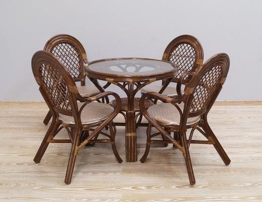 Komplet obiadowy z rattanu stół + 4 krzesła