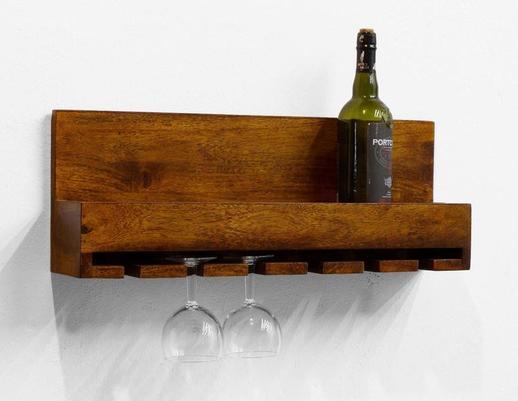 Półka na wino drewniana wisząca