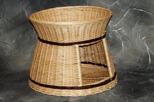 Budo-leżak okrągły z białej wikliny