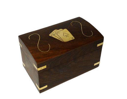 Drewniane pudełko indyjskie z dwoma taliami kart