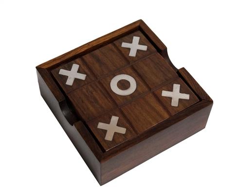 Drewniana indyjska gra kółko i krzyżyk oraz samotnik
