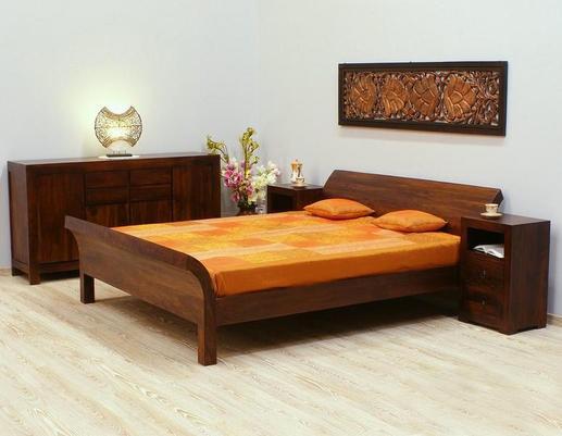 Łóżko kolonialne z drewna palisandru indyjskiego
