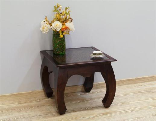 Stolik drewniany indyjski kolonialny z szybą rzeźbiony