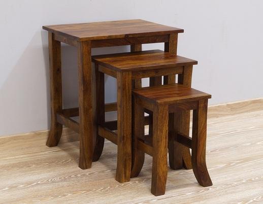 Stolik kolonialny drewniany komplet 3 sztuk