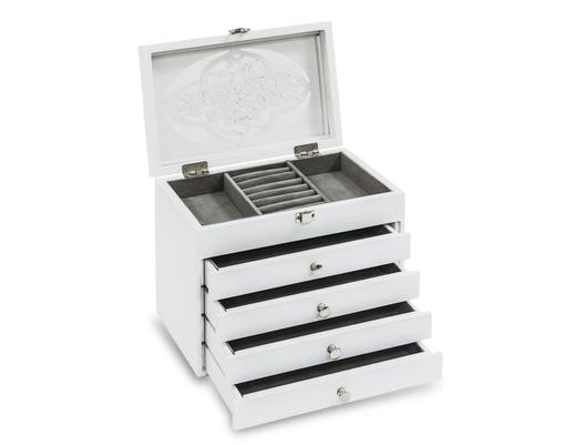 Biała szkatułka na biżuterię