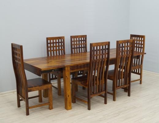 Indyjski komplet obiadowy z litego drewna stół + 6 krzeseł