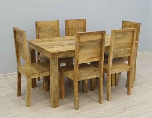 Kolonialny komplet obiadowy: stół + 6 krzeseł lite drewno mango styl Loft