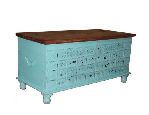 Kufer kolonialny drewniany indyjski malowany przecierany