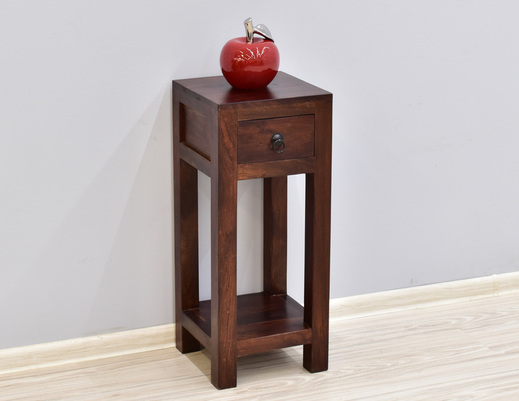 Stolik kolonialny z szufladką lite drewno palisander indyjski