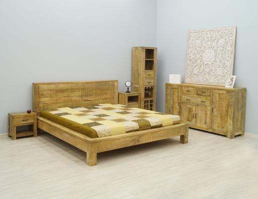 Łóżko kolonialne indyjskie w stylu loft z litego drewna