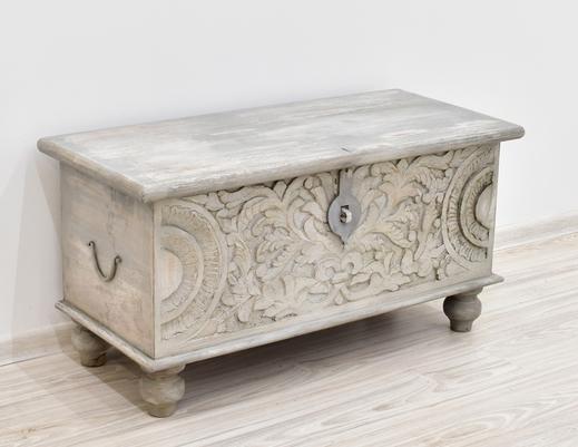 Kufer kolonialny drewniany indyjski  przecierany