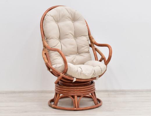 Fotel bujano-obrotowy rattan kolor koniakowy