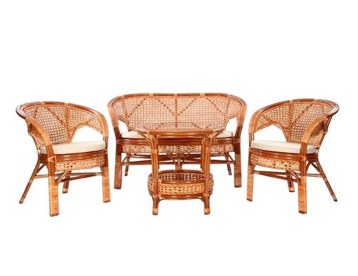 Komplet wypoczynkowy tarasowy z rattanu stolik + 2 fotele + sofa kolor koniakowy