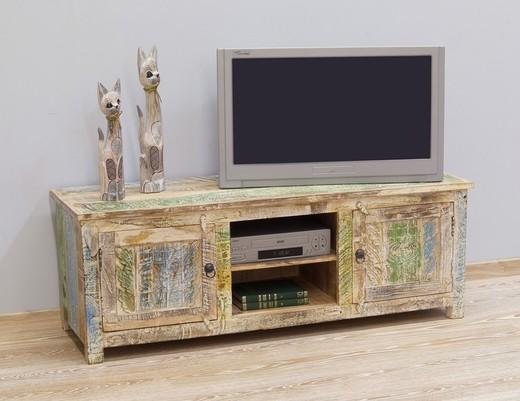 Komoda TV indyjska kolonialna z litego drewna