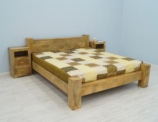 Łóżko indyjskie z dwoma szafkami nocnymi-komplet