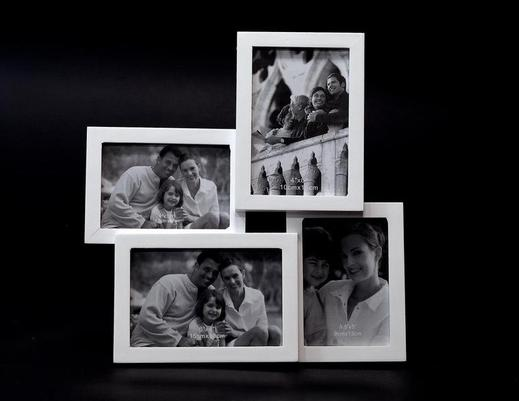 Drewniana biała ramka na zdjęcia