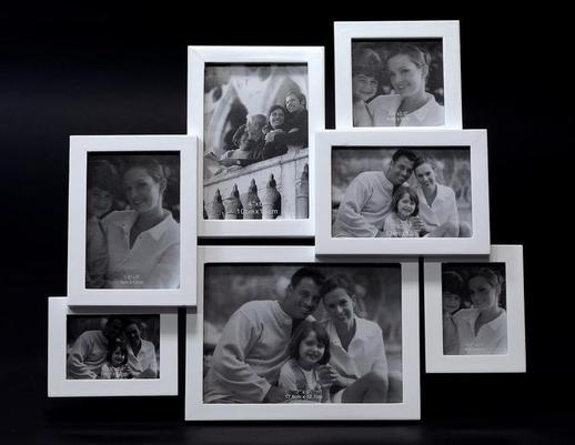Biała drewniana ramka rodzinna na zdjęcia