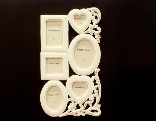 Drewniana biała ramka rodzinna na zdjęcia