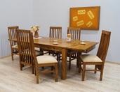 Komplet obiadowy z litego drewna stół + 6 krzeseł