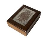 Drewniane pudełko indyjskie z kartami