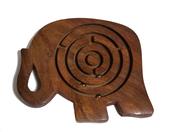 Drewniana indyjska gra labirynt słoń