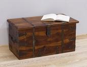 Kufer kolonialny indyjski z litego drewna