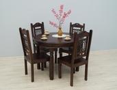 Indyjski komplet obiadowy  stół okrągły +4  krzesła zmetaloplastyką