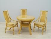 Naturalny ekskluzywny zestaw rattanowy DELTA stół + 3 krzesła