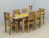 Komplet obiadowy LOFT z litego drewna stół + 6 krzeseł