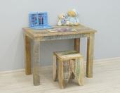 Stół drewniany indyjski kolonialny przecierany kolorowy