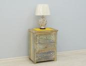 Rzeźbiona komoda indyjska z szufladami z litego drewna mango