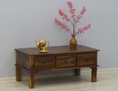 Stolik indyjski kolonialny drewniany z trzema szufladami