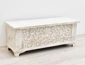 Kufer kolonialny drewniany indyjski  bielony