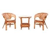 Komplet kawowy z rattanu stolik + 2 fotele kolor koniak